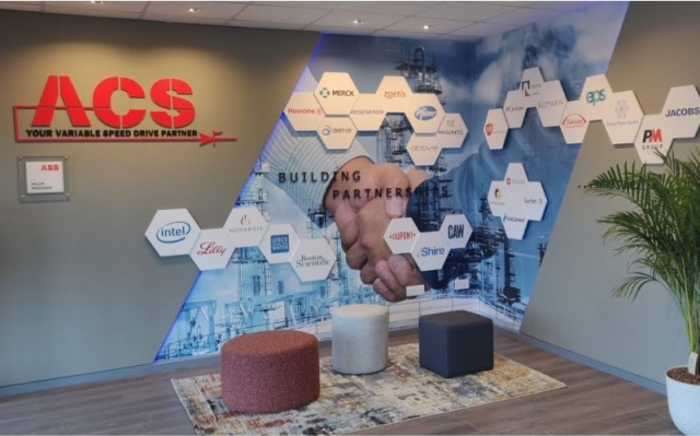 Wall Wrap with Layered Panels and Logos Perspex Wall Plaque - ACS