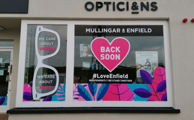 Temporary Printed Window Graphics - Enfield Opticians
