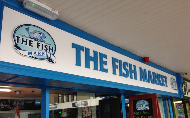 PVC Raised Letters with Vinyl Logo Graphic - The Fish Market