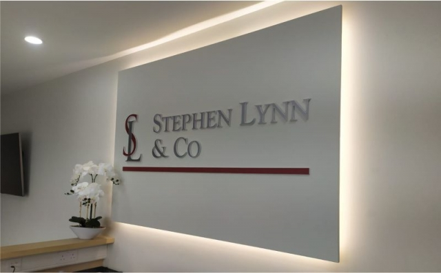 Raised Foamex Letters on Floating Panel with Halo Illumination - Stephen Lynn and Co.